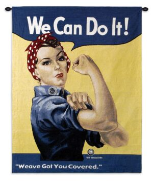 Rosie the Riveter | Retro Woven Art Tapestry | 53 x 38