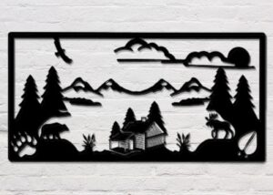 Rustic Cabin Wrought Iron Wall Art  | 24 x 12