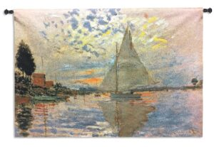Sailboat by Claude Monet | Large Woven Tapestry | 45 x 63