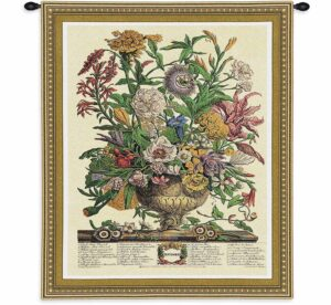 September Botanical   26 x 32   Floral Tapestry Wall Hanging