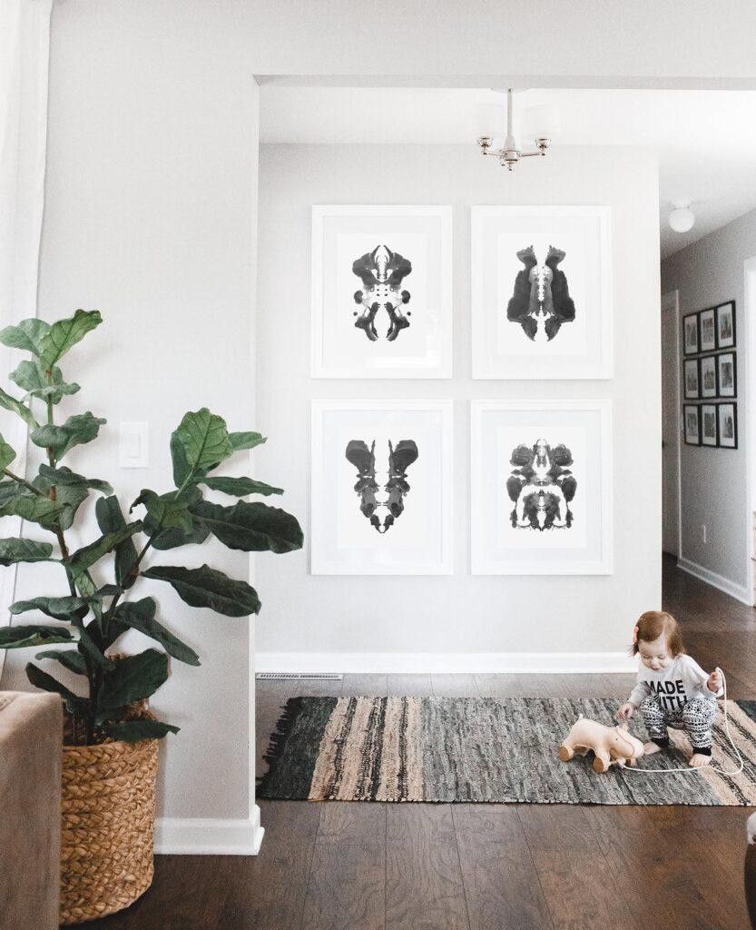 Set of 4 Ink Blot Black & White Art Prints