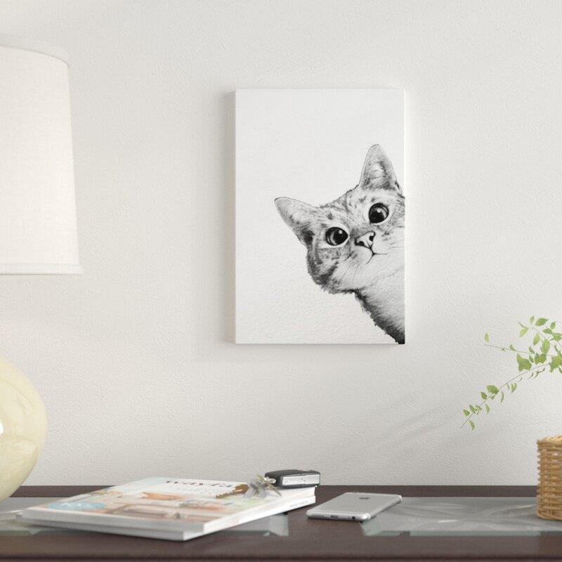 Sneaky Cat Black & White Art Print on Canvas