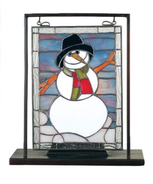 Christmas Stained Glass Snowman Lighted Tabletop Window