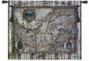 Souvenirs des Voyage (World Map) | 53 x 40 | Tapestry Wall Decor