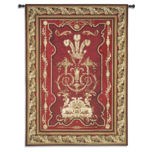 "Sovereign Deep Crimson & Gold | Extra-Large Traditional Tapestry | 117"" x 85"""