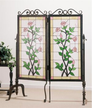 Gerardia Stained Glass & Metal 2 Panel Room Divider