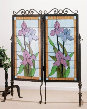 Iris Stained Glass & Metal 2 Panel Room Divider