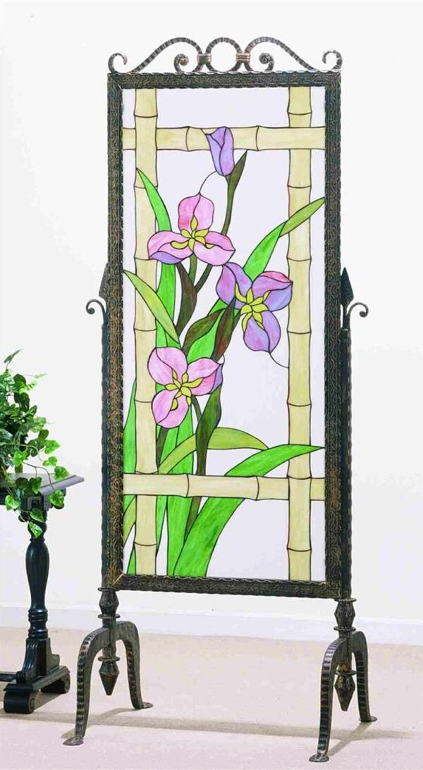 Meadow Beauty Stained Glass & Metal Privacy Screen