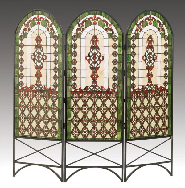 Quatrefoil Classical 3-Panel Stained Glass Room Divider