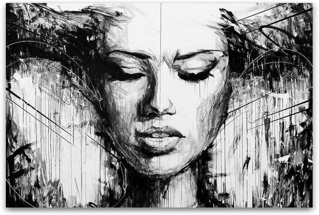 Startonight Canvas Wall Art Black and White Abstract Woman