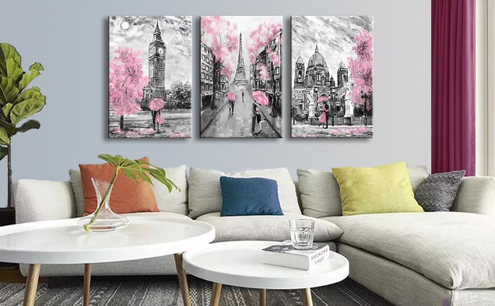 Street Scenes with Pink 3 Piece Art Set III