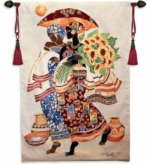 """Sunflowers and Umbrella   37"""" x 52""""   Woven Tapestry"""
