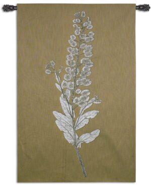 Taupe Nature Study III | Woven Floral Tapestry | 62 x 40