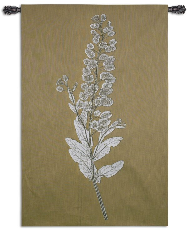 Taupe Nature Study III   Woven Floral Tapestry   62 x 40