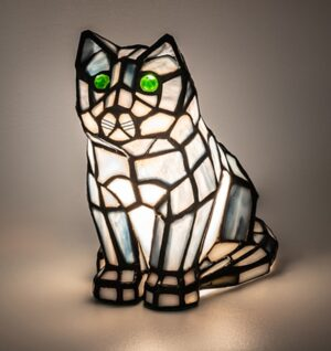 Tiffany Cat   Stained Glass Cat Lamp