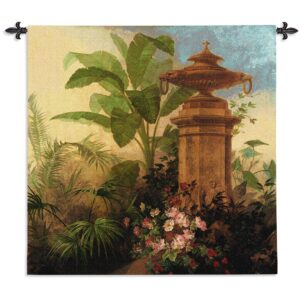 Tropic Fantasy II | Tropical Botanicals Woven Tapestry | 54 x 54