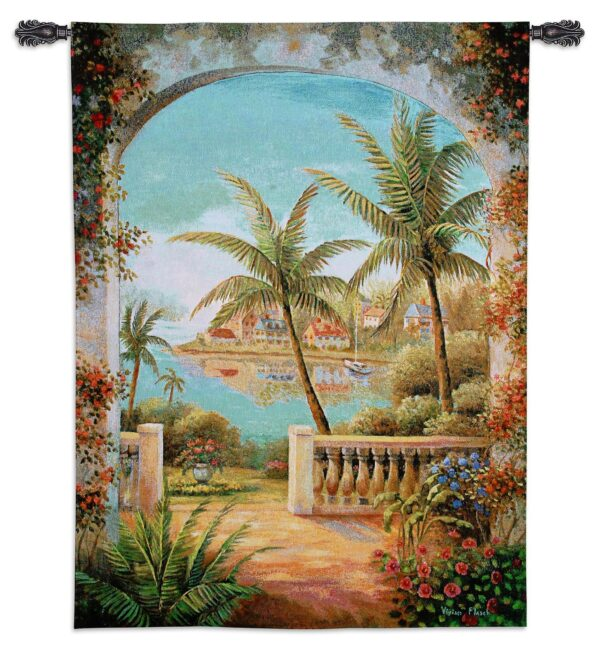 Tropical Terrace II | Woven Tapestry | 54 x 40