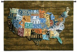 """USA Tag on Wood 