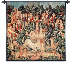 Unicorn Dips His Horn | 53 x 53 | Woven Tapestry Decor | Wool & Cotton