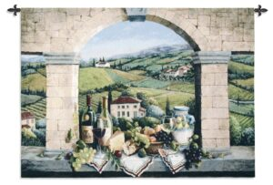 Vino De Tuscany | Large Woven Tapestry | 52 x 75