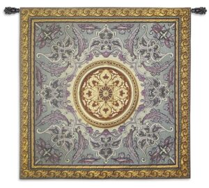 Violaceous Beauty | Woven French Country Motif Tapestry | 52 x 52