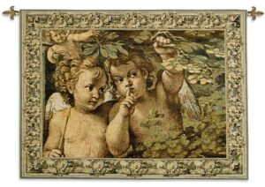 Whispering Angel | Traditional Woven Cherub Tapestry | 39 x 53