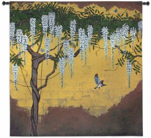 Wisteria with House Finch | 53 x 53 | Woven Tapestry Decor