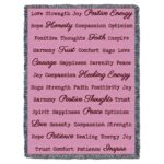 Word Hugs Inspirational Tapestry Throw Blanket Berry Pink
