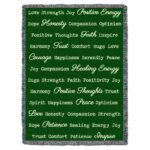 Word Hugs Inspirational Tapestry Throw Blanket Green