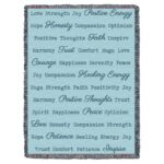 Word Hugs Inspirational Tapestry Throw Blanket Light Teal
