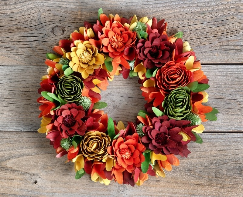 Paper Flowers Fall Wreath