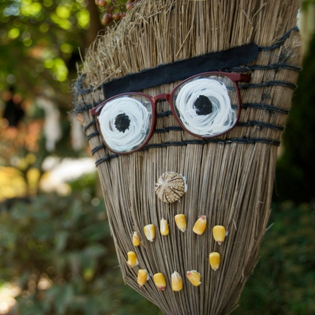 Straw Broom Scarecrow Fall Decoration