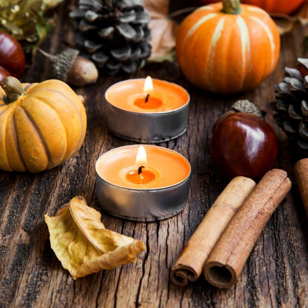 Votive Candles with Cinnamon Sticks