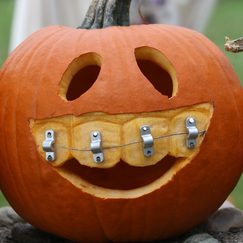 Carved Pumpkin with Braces