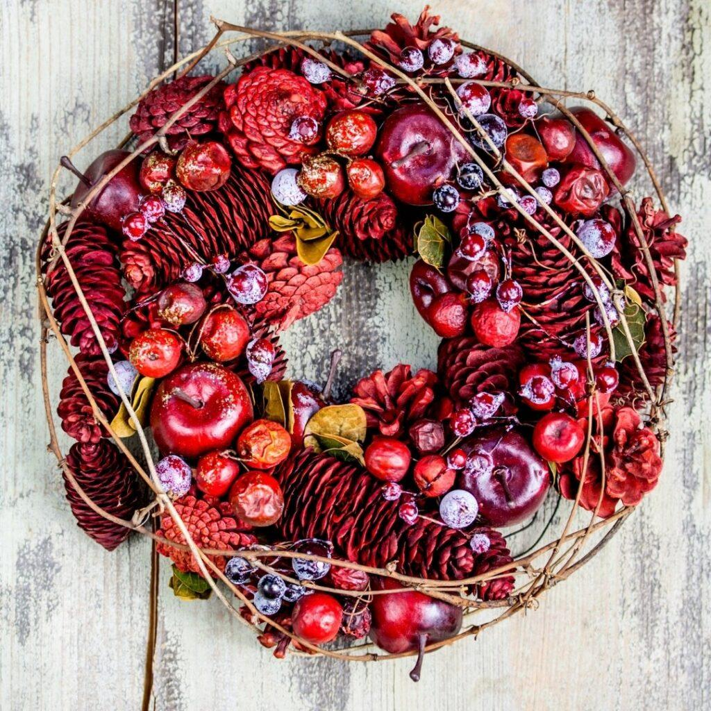 Colorful DIY Christmas Apple Wreath