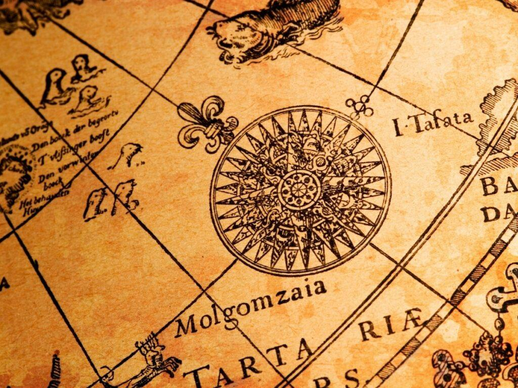 Compass Rose Drawn on Map