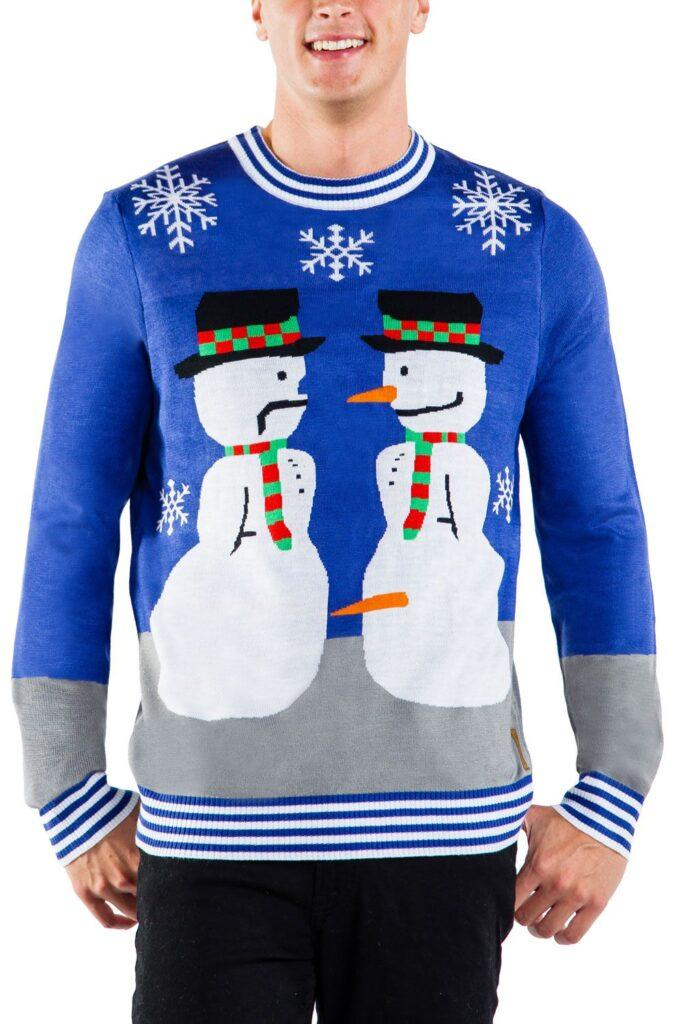 Mens Snowman Nose Thief Ugly Christmas Sweater