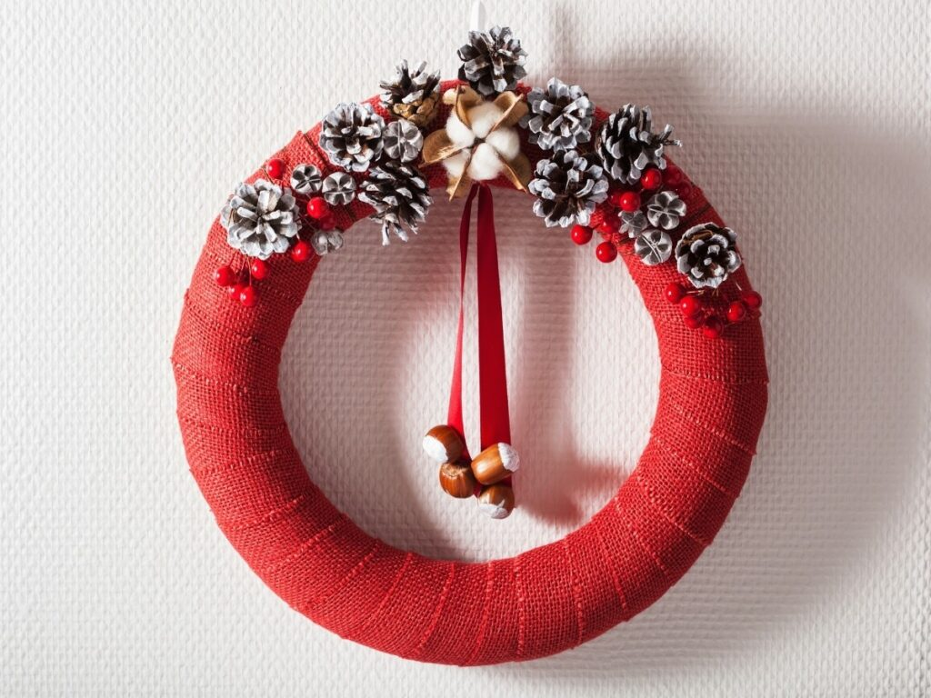 Red Wrapped Cloth Wreath
