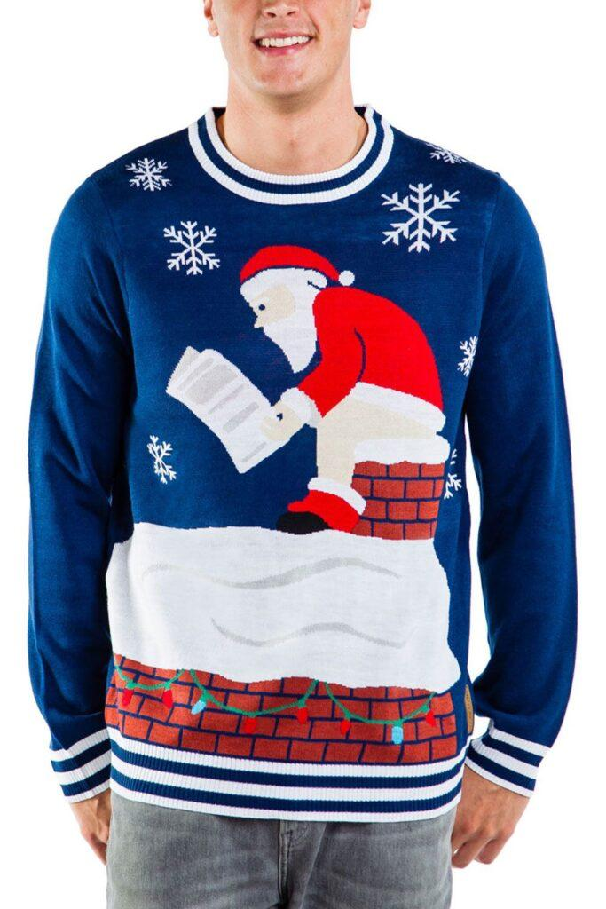 Santa Pooping Down the Chimney Ugly Christmas Sweater
