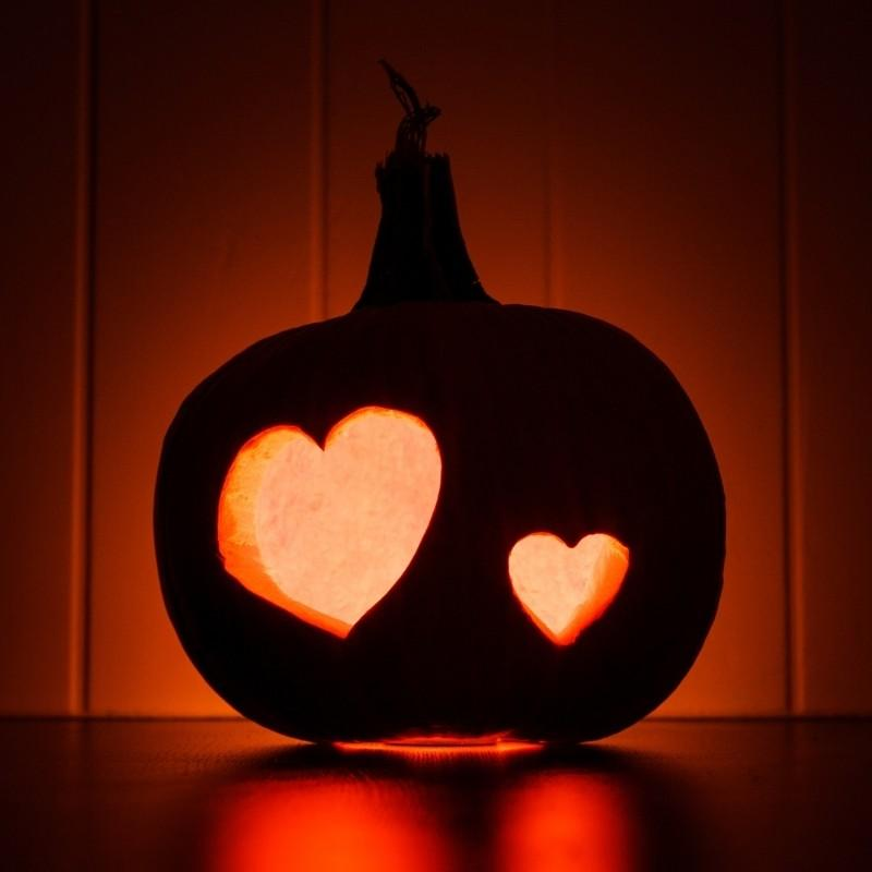 Two Hearts Carved Pumpkin