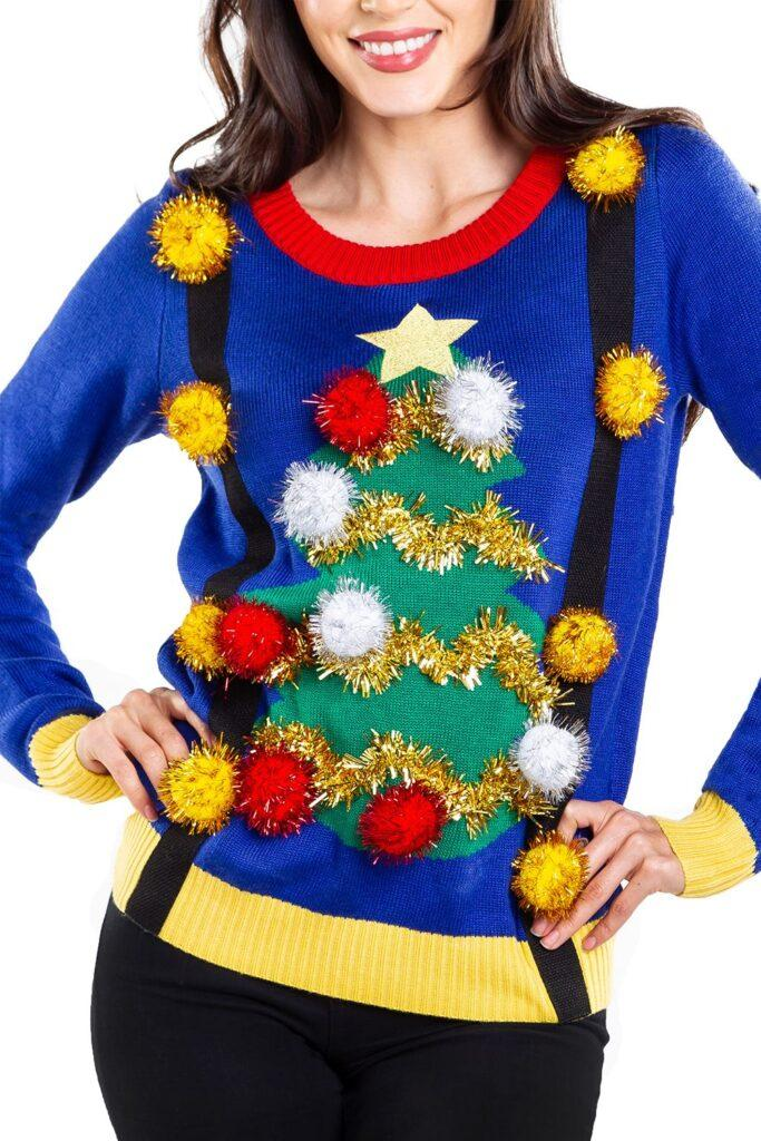 Women's Ugly Christmas Tree Sweater with Suspenders