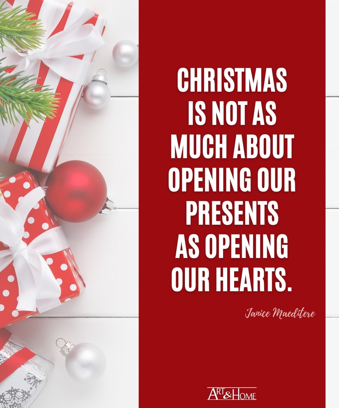 Christmas Quote About Opening Presents & Hearts