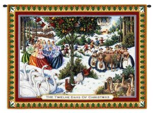 Twelve Days Of Christmas Woven Wall Tapestry
