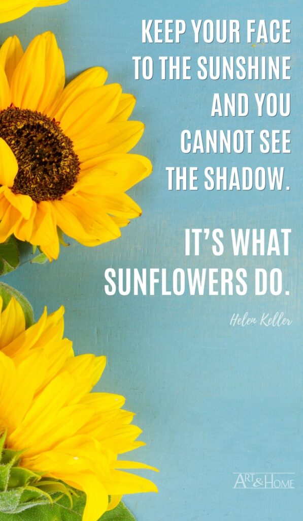 Keep your face to the sunshine and you cannot see the shadow. It's what sunflowers do. Helen Keller quote