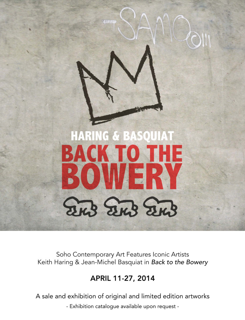 Soho Contemporary Art is pleased to present Back to the Bowery, a sale and exhibition scheduled to run April 10th until April 24th featuring iconic artists Keith Haring and Jean-Michel Basquiat from 1980-1990.