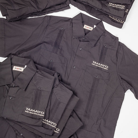 Custom Embroidered Guayaberas for Mexican restaurant Uniforms