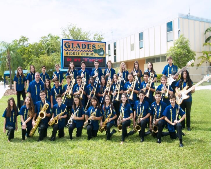 Glades Middle School Miami' Jazz Band especially ordered and got their band uniforms customized into identical Guayaberas