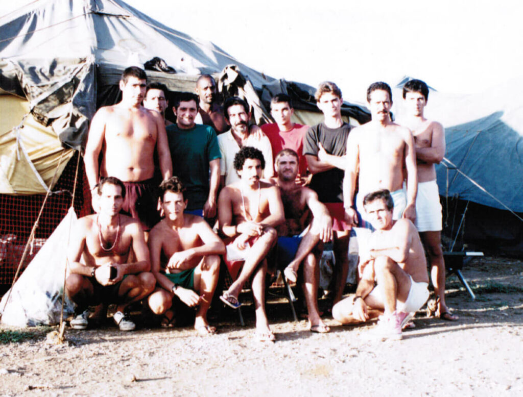 Me (Black t-shirt) at the Guantanamo Bay refugee camp.