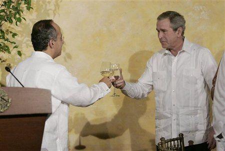 Former president George W. Bush in Guayabera