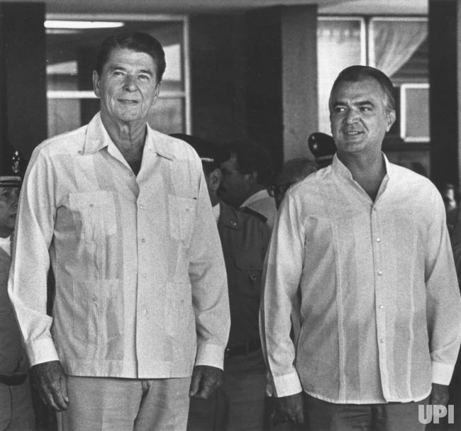 Former president Ronald Reagan in a Guayabera (retro Cuban shirt)